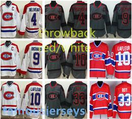 2019 patrick roy jersey canadiens Montreal Canadiens Hockey-Trikots # 4 Jean Beliveau 9 Maurice Richard 33 Patrick Roy klassische weiße rote Stickerei-Trikots rabatt patrick roy jersey canadiens
