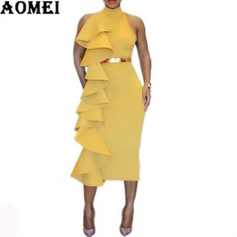 2019 falda vestido de gran cremallera Women Sexy Dinner Yellow Slim Dress Patchwork Layers Ruffles Bodycon Evening Party Vestidos Sleeveless Clubwear Spring Summer New Tunics