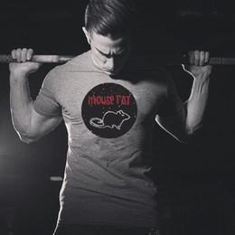 Topi grigi online-Manica corta cotone grigio Estate lettera stampata mouse Mens Rat T shirt divertente Hipster T camicia da uomo