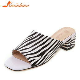 a737031a2b27c KARINLUNA 2019 New Arrivals Fashion Print Summer Shoes Mules Women Med  Square Heels Slippers Women Shoes Woman Size 33-43