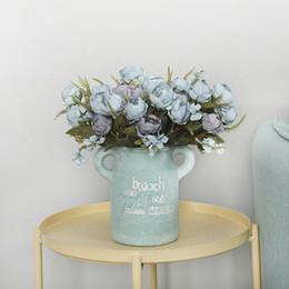 Plantando peônia on-line-Peônia de seda Flwoer Casamento Bouquet Europeu Peônia Flor Artificial Falso Simulação Plantas Folha Casa Decoração Do Partido 4 Cabeças / buquê
