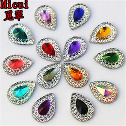 2019 celulares artesanais 100 pcs 10 * 14mm Gota de Resina Strass Cristal Pear Flat volta Beads Botões Para Jóias Roupas Vestido Decoração Diy ZZ284