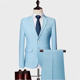 esmoquin azul cielo Rebajas Traje de alta calidad de dos piezas para los hombres, azul cielo, gris, blanco, trajes de hombre para la boda, esmoquin, corte slim, trajes para hombre con pantalones burdeos