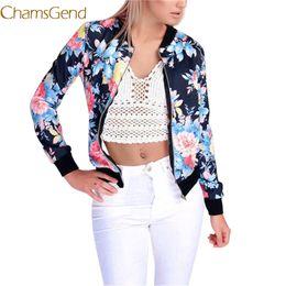 chaquetas de flores damas Rebajas 2017 A # hot dropshipping Womens Ladies Flower FLoral Imprimir Zipper Up Bomber Jacket Coat Coat dropship # 42
