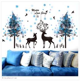 Murais de árvores negras on-line-1 Pcs Flocos De Neve Árvores Preto Veados Adesivos de Parede PVC DIY Animal Mural Decalques para Quarto Dos Miúdos Sala de estar Decoração