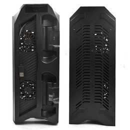 2019 base de carga dock ps4 Venta caliente Soporte vertical Enfriador Ventilador Ventilador Dual inalámbrico Joystick / Controlador Estación de acoplamiento de carga USB para PS4 base de carga dock ps4 baratos