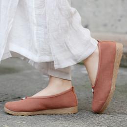 chinesische flache schuhe Rabatt Die zufälligen flachen Schuhe der MUQGEW-Frauen nationaler Wind beschuht das wilde Tuch der flachen Knöchelunterseite der chinesischen Art, das Schuhe fährt