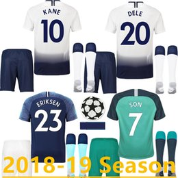 b5618b255 TOP Thailand quality KANE kits Soccer Jerseys 2018 2019 LAMELA ERIKSEN DELE  SON jersey 18 19 Football shirt set uniform