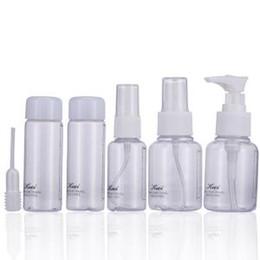 Pequeños conjuntos de maquillaje online-Mini Botella Transparente de Plástico Pequeña Botella de Spray Vacía Para Maquillaje Cuidado de la Piel de Viaje Portátil Prensa Botella Vacía 6 unids / set LJJR277