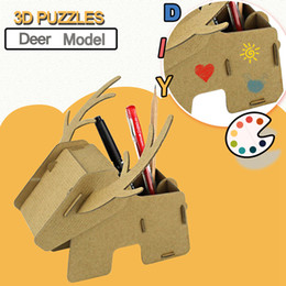2019 scatole di stoccaggio dei giocattoli Puzzle 3D di cartone per bambini Fai da te Assemblaggio fatto a mano Cartone animato Cervo Doodle Scatola di immagazzinaggio Modello Giocattoli per bambini Regali di pensiero divergenti sconti scatole di stoccaggio dei giocattoli