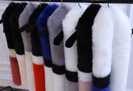 Echarpe à renard blanc en Ligne-Cape en écharpe blanche en fausse fourrure style patchwork femmes