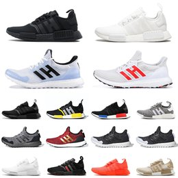 2020 schuh stock x Adidas Stock X Bred NMD R1 hu Human Race Boost Mens Running Shoes Pharrell Williams Oreo OG Classic Runner Men Women Sports Trainers Sneakers rabatt schuh stock x