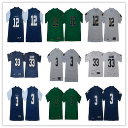 Combattendo il calcio irlandese online-Mens NCAA Jamal Adams 33 ND # 3 Joe Montana del calcio Jersey # 12 Ian Prenota Shamrock Serie Gessato Norte Dame Fighting Irish maglie S-3XL