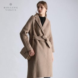 Neuer 2019 Winter warme Camel Farbe langer Kaschmirmantel Frauen eleganter Woll Cocoon Topcoat Luxus Wolle Mischungen Street Belted