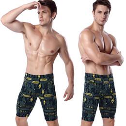 corti lunghi di nuotata Sconti Pantaloncini da nuoto da uomo lunghi al ginocchio Costumi da bagno stampati Sexy attillati da bagno 2019 Pesca da nuoto Triathlon che guadano 5 punti pantaloncini
