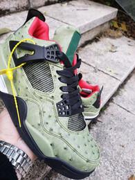 2019 nuevo patrón de zapatos para hombre. 2019 Nuevo 4 patrón de avestruz verde 4s hombres bajos zapatos de baloncesto zapatillas deportivas al aire libre entrenadores de alta calidad tamaño 7-13 con caja rebajas nuevo patrón de zapatos para hombre.