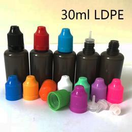 bouteilles d'éprouvettes en plastique Promotion 10ml 30ml PE Noir E Bouteille à Aiguille Liquide Ecig Huile En Plastique PE Doux Ejuice Compte-gouttes Coloré Caps
