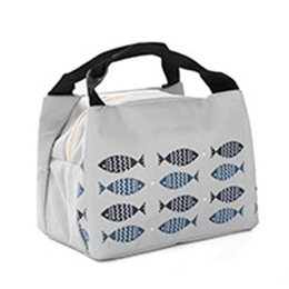 015e6b0baa sacchetti tote tote Sconti Picnic Lunch Bag Tote Stampa Outdoor Little Fish  Pattern Portatile Oxford tessuto