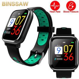 podómetro medidor de pulso Rebajas BINSSAW Pulsera inteligente Q58 pantalla en color IU con medidor de pulso de presión reloj soporte podómetro monitor de sueño deporte banda