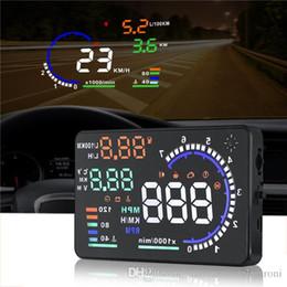 a8 hud Sconti 2019 Car Head Up Display HUD A8 5.5 pollici Auto HUD HUD A8 OBD2 Velocità interfaccia allarme multicolore di trasporto