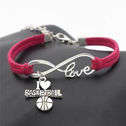 Infinity Love I Coeur Basketball Football Volleyball Baseball Football Sport Bracelet Bracelets Pour Femmes Hommes Rose Rouge Corde En Cuir Bijoux Cadeau ? partir de fabricateur