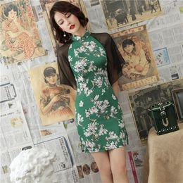 dbe8736d Green Chinese Traditional Style Cheongsam Elegant Women' s Handmade Button Dress  Mandarin Collar Sexy Short Dress Size S-XXL sexy green cheongsam on sale
