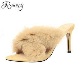 chaussures d'été élégantes sexy Promotion Rimocy femmes pantoufles sexy stiletto talons hauts sndals dames 2019 nouvelles chaussures d'été femme élégantes talons minces sandalias en fausse fourrure