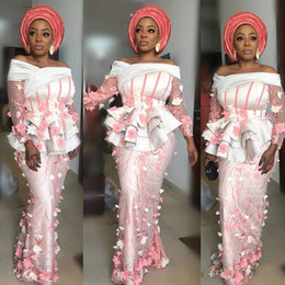 tulle sleeve aso ebi dresses Promo Codes - Aso Ebi Style Pastel Pink and White Evening Dresses 2019 Illusion Ruffles Bodice Party Gowns 3D Appliques Long Sleeve Mermaid Prom Dresses