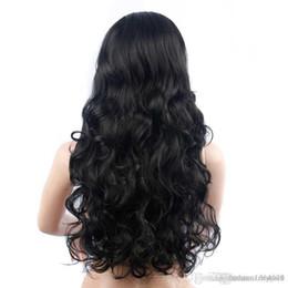 2019 pelo grande bob Cabello negro largo y rizado Big Wavy Oblique Bangs Fluffy Wig Headgear Front Hair Pelucas para mujeres Hair Front Bob Pelucas rebajas pelo grande bob