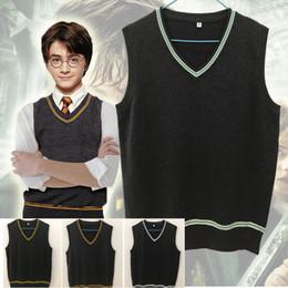 maglioni scolastiche Sconti Harry Potter Gilet scollo a V maglione Uniforme Magic School Gilet Serpeverde Grifondoro Corvonero del costume di Cosplay Maglioni Men vendita
