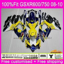 Carona corona k8 on-line-Injecção Para SUZUKI GSXR 600 750 08 GSXR-750 GSXR600 08 09 10 Amarelo CORONA 7HM.15 GSXR-600 K8 GSX R750 R600 GSXR750 2008 2009 2010 Carenagem