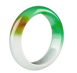 Caixa de pulseira de jade on-line-Koraba Fine Jewelry Lavender Tricolor Green Jade Gems Bracelet Bangle com caixa de presente embalagem frete grátis