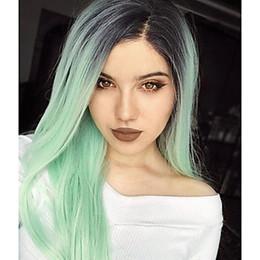 2019 raíces de estilo Nuevo estilo Ombre Mint Green Pelo sintético Long Roots Dark to Pastel Green Lace Front Pelucas Atado a mano Sedoso Recto Mujer Cosplay Party Hair rebajas raíces de estilo