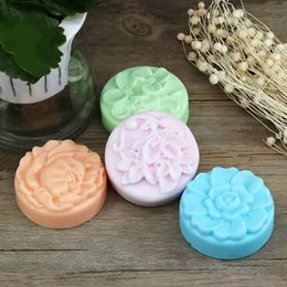 handmade cake flowers Promo Codes - Soap Mold Silicone baking Tool Rose flower Shape Handmade Massage Soap Ice Making Moulds Tray 4 Cavity Big
