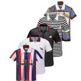 etiquetas de ropa de impresión Rebajas verano 18ss diseñadores etiqueta serpiente impresión ropa hombres tela letra polo g camiseta collar casual hombres camiseta camiseta tops