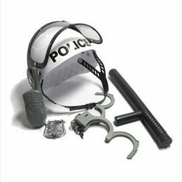 i giocattoli di gioco del ruolo dei bambini Sconti Poliziotto Role Pretend Play Ragazzi Toy Camouflage Hat Walkie Talkie Police Baton Emblem Handcuffs Set per bambini Bambini