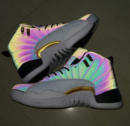 Commercio all'ingrosso 12 nuovi XII Flash di luce colorata 3M 12s Uomini Scarpe da basket Sneakers sportive nuovi allenatori economici sconto formato 7-13 da