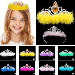 Corone di costume del rhinestone online-Cosplay Costume Princess Crown Hair Accessories Kids Children Feather Girls Rhinestone Crown Christmas Halloween Party Movie TY7-119