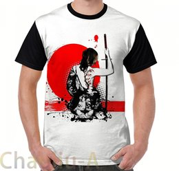 2019 samurai superior Trash Polka-Samurai Feminino T-Shirt dos homens engraçado impresso camiseta mulheres tops tees de Manga Curta Casual tshirts samurai superior barato