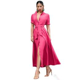 Длинные платья онлайн-Button Up Элегантное длинное платье-макси с отложным воротником с коротким рукавом Клубное вечернее платье Лето спереди Высокий пояс с разрезом Халат Femme