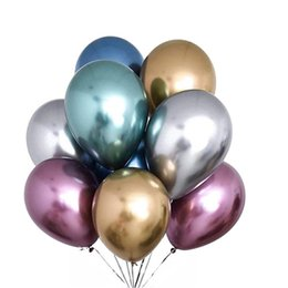 weiße blumen-mittelstücke für hochzeiten Rabatt 50pcs / lot 12inch Neue glänzende Metall Perle Latexballons Starke Chrom-Metallic Farben aufblasbare Kugeln Globos-Geburtstags-Party-Dekor