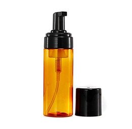 Leere duschgelflaschen online-100ML 150ML 200ML Brown leere Plastikschaumflasche mit Pumpenkopf und Black Cap Handseife Duschgel, Gesichtsreiniger Bernstein Schaumspender