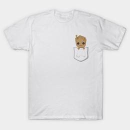 2019 bolso feito sob encomenda camisetas 2018 Engraçado Bolso Bebê Groot Impresso T Shirt Bonito Cômico T-shirt das Mulheres Projeto Fresco de Alta Qualidade Encabeça Personalizado Hipster Tees desconto bolso feito sob encomenda camisetas