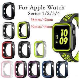 correa de reloj de manzana 42mm Rebajas Funda de silicona para la caja del reloj de Apple 42mm 38mm 40mm 44mm Sport Band Estuche suave de goma con marco de dos colores para iwatch serie 4 3 2 1 Cubierta posterior