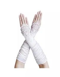 Elégant Longs Gants De Mariage Noir Coude Longueur Femme Sans doigts Rouge / Noir / Blanc Nuptiale Dentelle Appliqued Bead Satin Dance ? partir de fabricateur