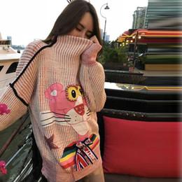 Розовый свитер онлайн-PEILING DRAGON womens sweaters winter autumn cartoon nail  high neck loose sweater female tide card Pink Leopard w043