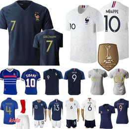france soccer kit Promo Codes - Men Women Kids France Jersey Soccer LE SOMMER HENRY KYLIAN MBAPPE ANTOINE GRIEZMANN PAUL POGBA GIROUD ZIDANE KANTE LLORIS Football Kits