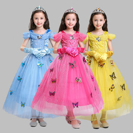 2019 magia principessa partiti Kids Girl Party Princess Dress 3+ Halloween Cosplay Butterfly Bow Tie Abiti Bambini Designer Party Costume Matching Crown Magic Wand 2-8T magia principessa partiti economici