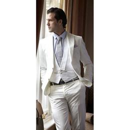 costumi da sposa per uomini avorio Sconti 2019 Ivory Beach Abiti da sposa per uomo Slim Fit costume homme sposo uomo Smoking 3 pezzi Blazer Groom Tailor Suit ternos masculino