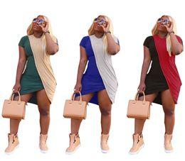 mini split de gros Promotion Les femmes robes panées été sexy jupes à manches courtes Split Mini robe, plus la taille des vêtements décontractés S-2XL gros pas cher 679